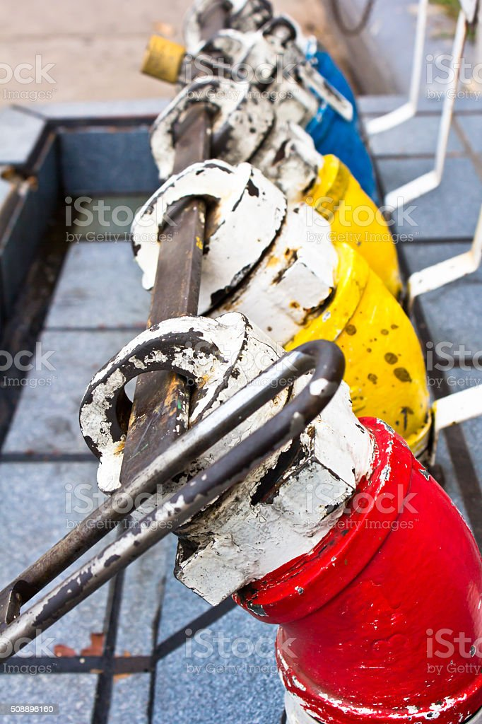 colorful fuel oil gasoline dispenser stock photo