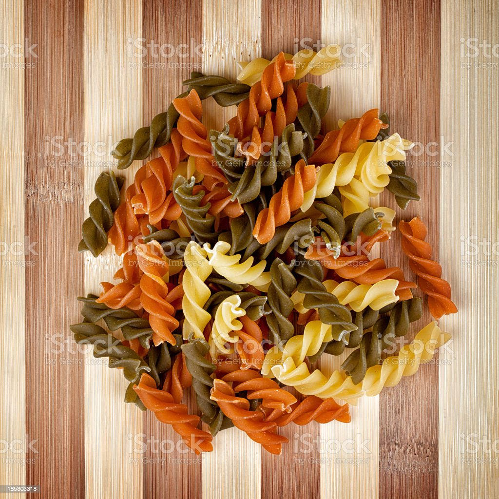 Colorful fusilli pasta royalty-free stock photo