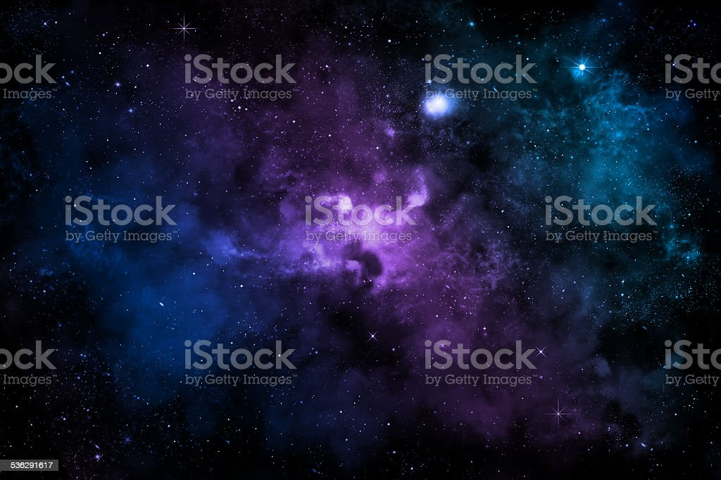 colorful galaxy with nebula, clouds and starlight stock photo