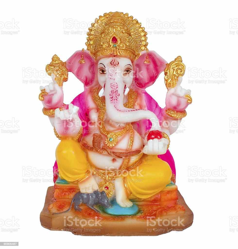 Colorful Ganesh statue over a white background stock photo