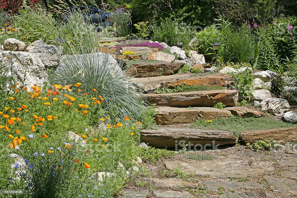 Colorful Garden Stairs stock photo