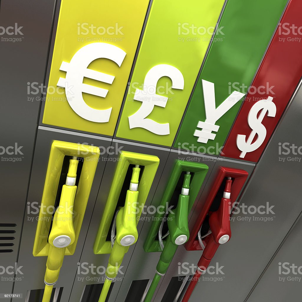 Colorful Gas pumps with currency symbols royalty-free stock photo