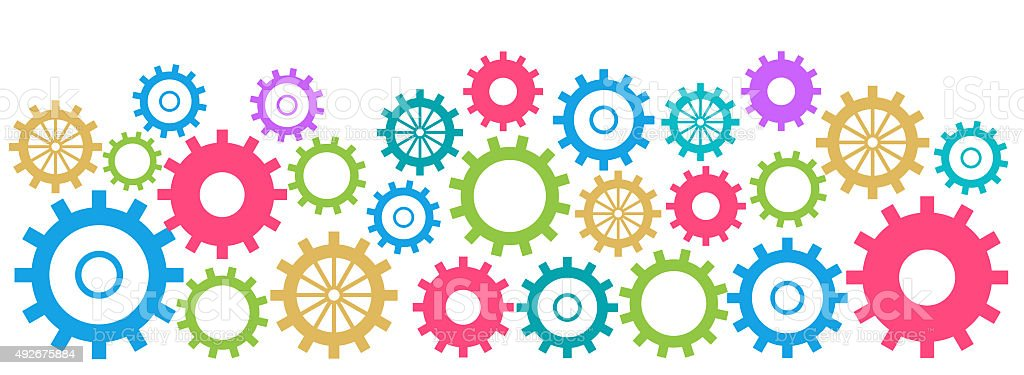 Colorful Gears Background Horizontal stock photo