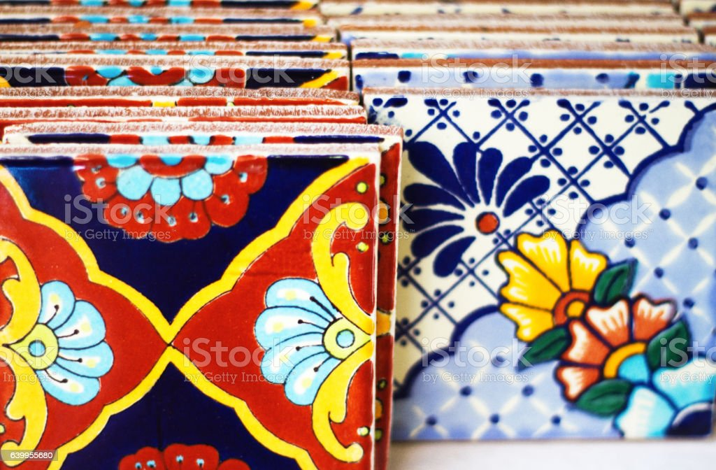 Colorful Geometric Mexican Tiles Lined Up stock photo