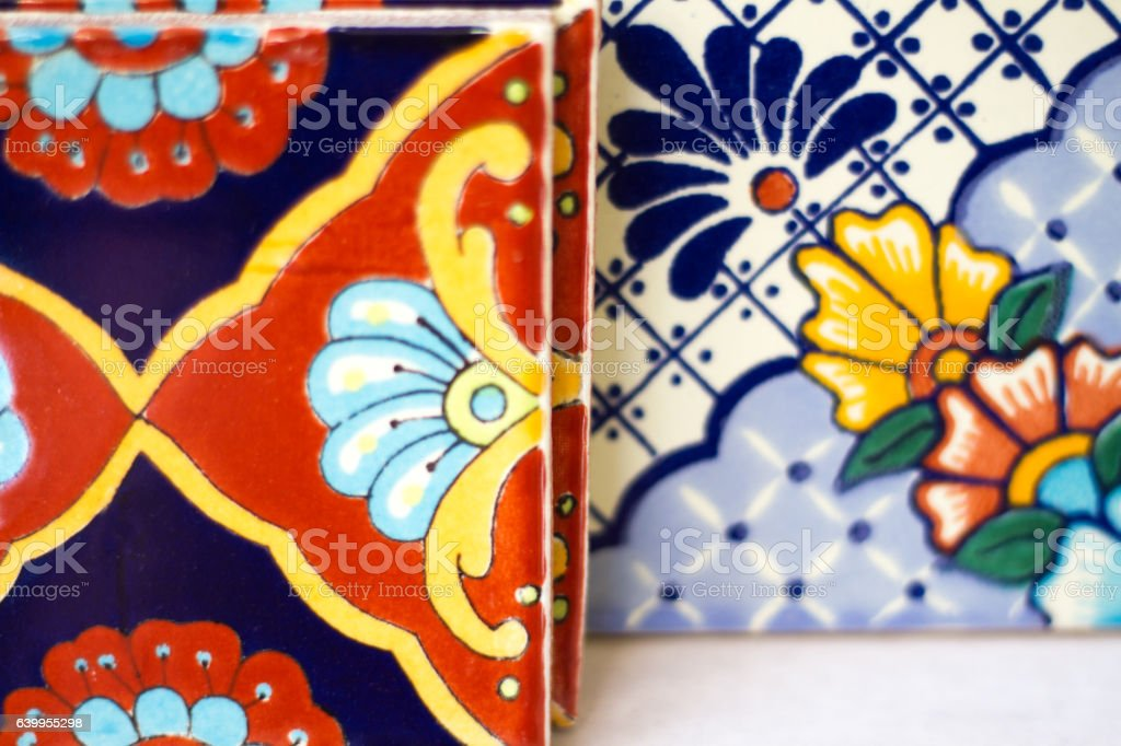 Colorful Geometric Mexican Tiles stock photo