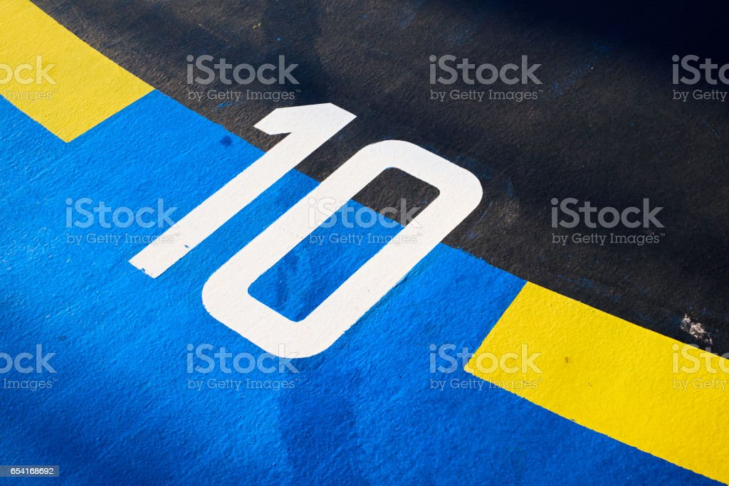 colorful geometrical abstract of number ten printed stock photo