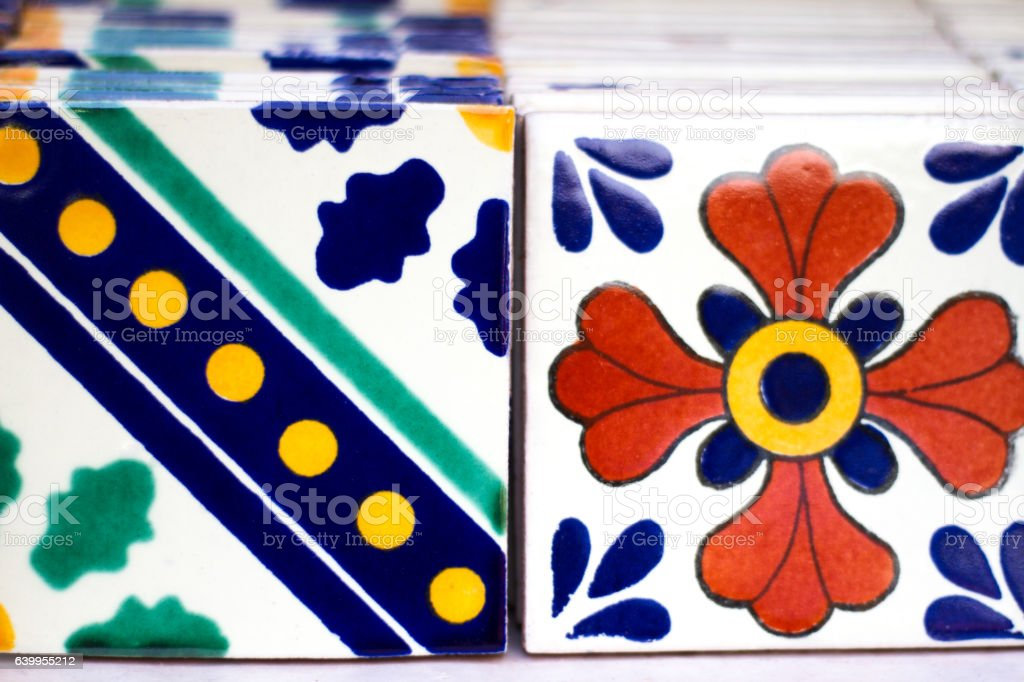 Colorful Geometric-Floral Mexican Tiles Lined Up stock photo