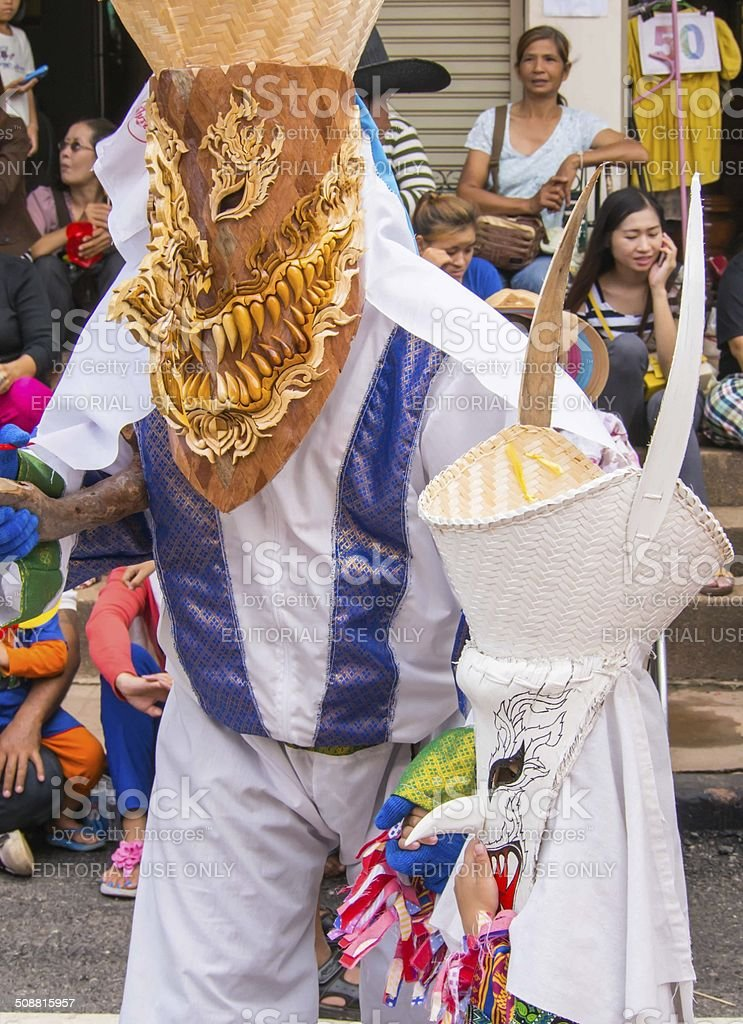 Colorful ghost mask used in Phi Ta Khon Festival, Thailand stock photo