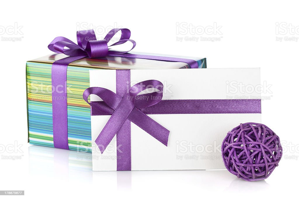 Colorful gift box and letter royalty-free stock photo