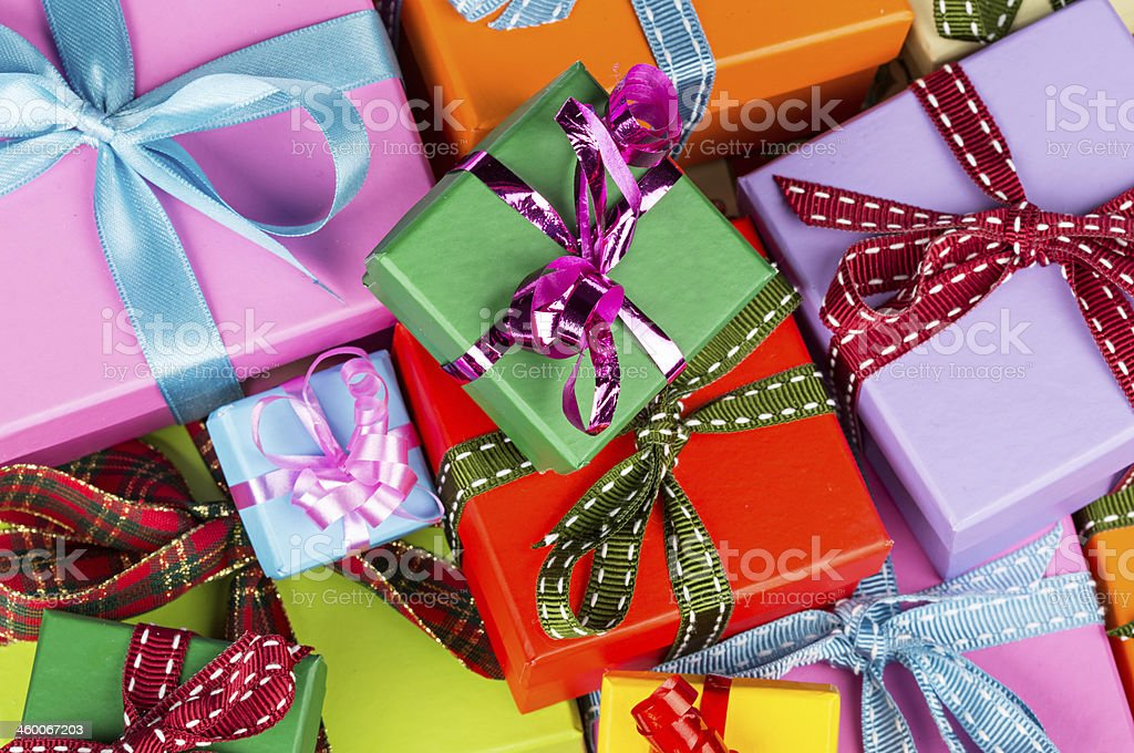 colorful gift boxes stock photo