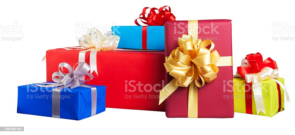 Colorful gift wrapped boxes isolated on white background stock photo