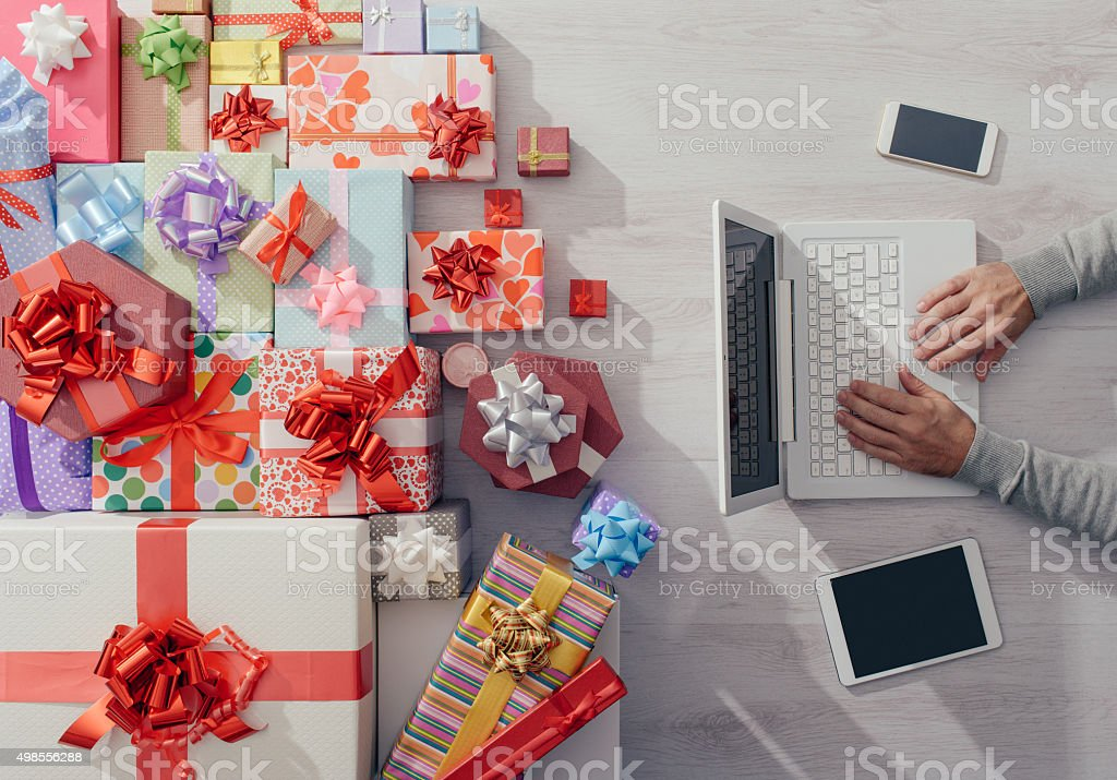 Colorful gifts on a desktop stock photo