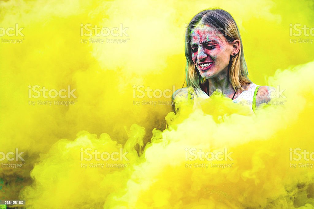 Colorful girl stock photo