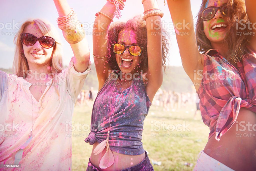 Colorful girls during the festival stock photo