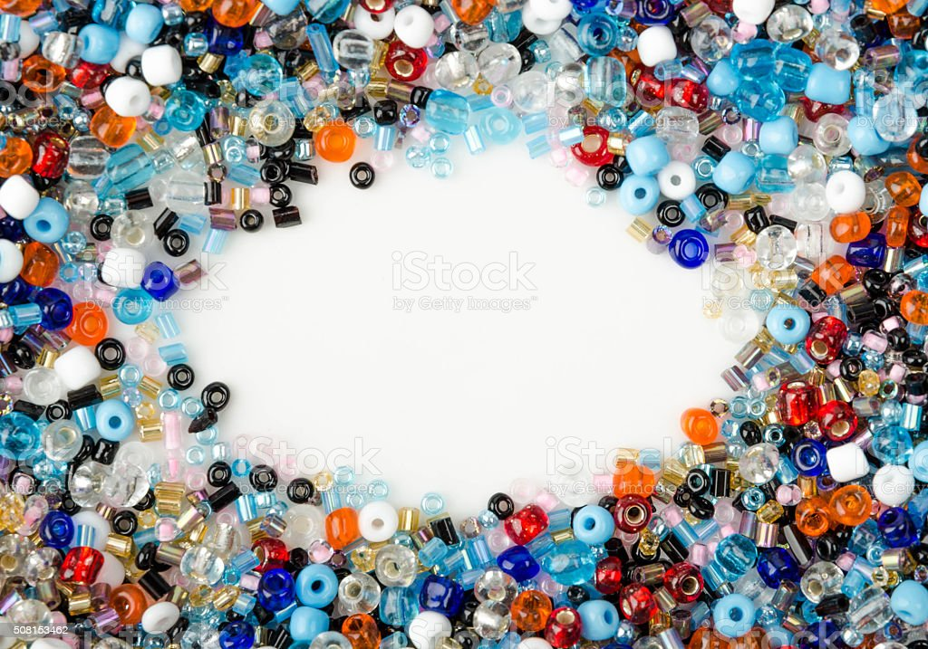 Colorful Glass Beads Jewelry with large copy space stock photo