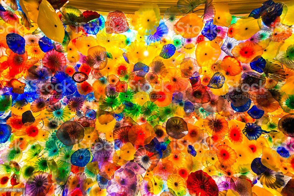 colorful glass celling in the Bellagio Hotel at Las Vegas stock photo