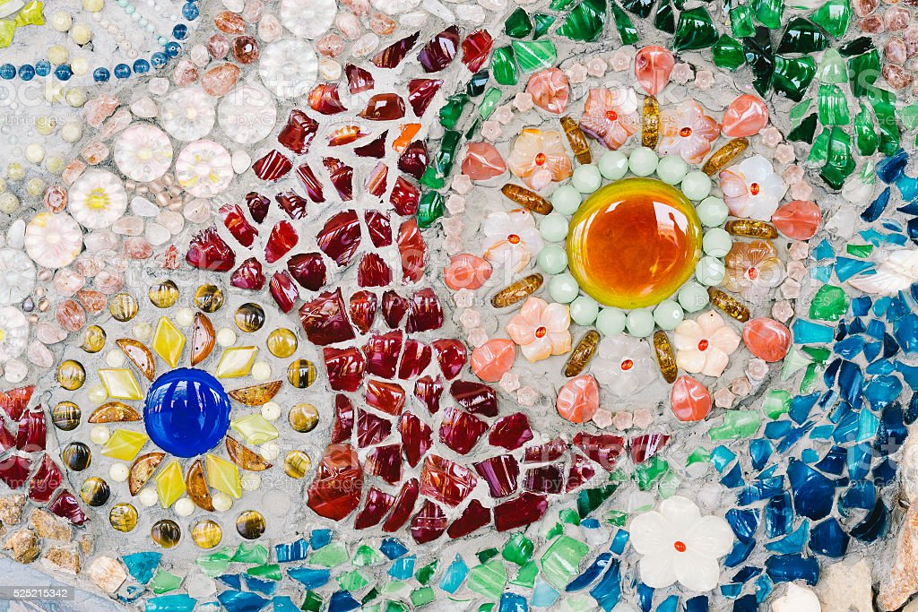 Colorful glass mosaic art and abstract wall background stock photo