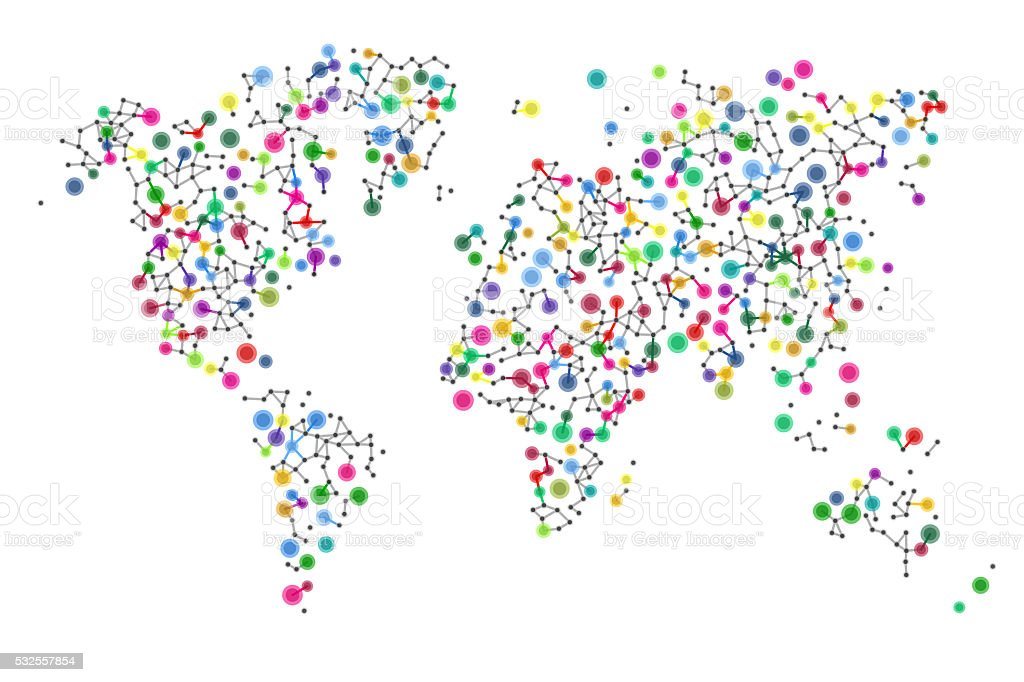 Colorful Global Network stock photo