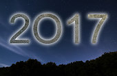 2017. Colorful glow 2017 new year. Night Sky.