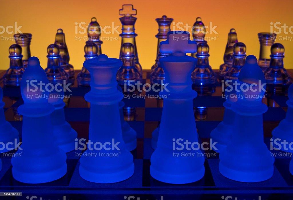 Colorful Glowing Chess Match. stock photo