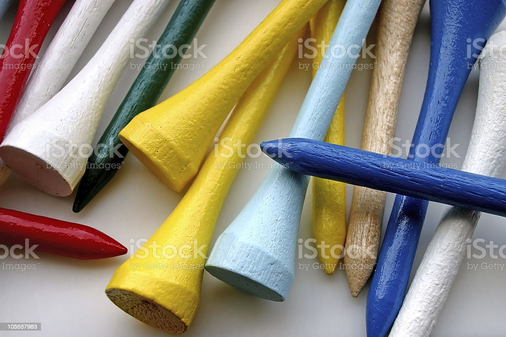 Colorful Golf Wooden Tees royalty-free stock photo