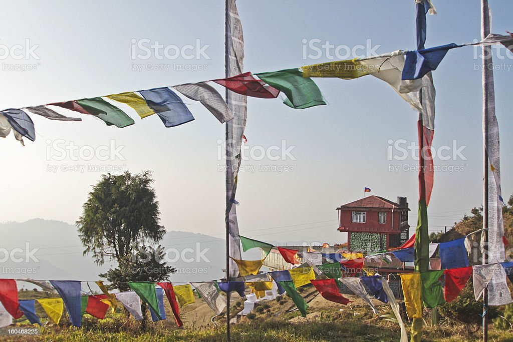 Colorful Gompa, monastery with prayer flags stock photo