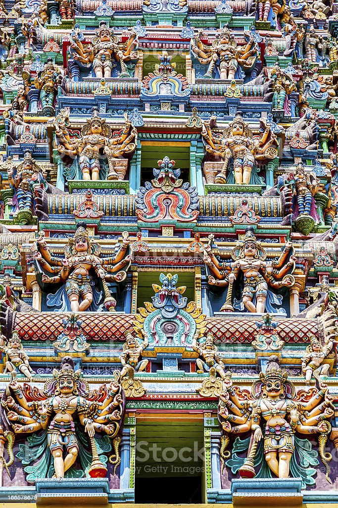 colorful gopura (tower), Menakshi Temple, Madurai, Tamil Nadu, India stock photo