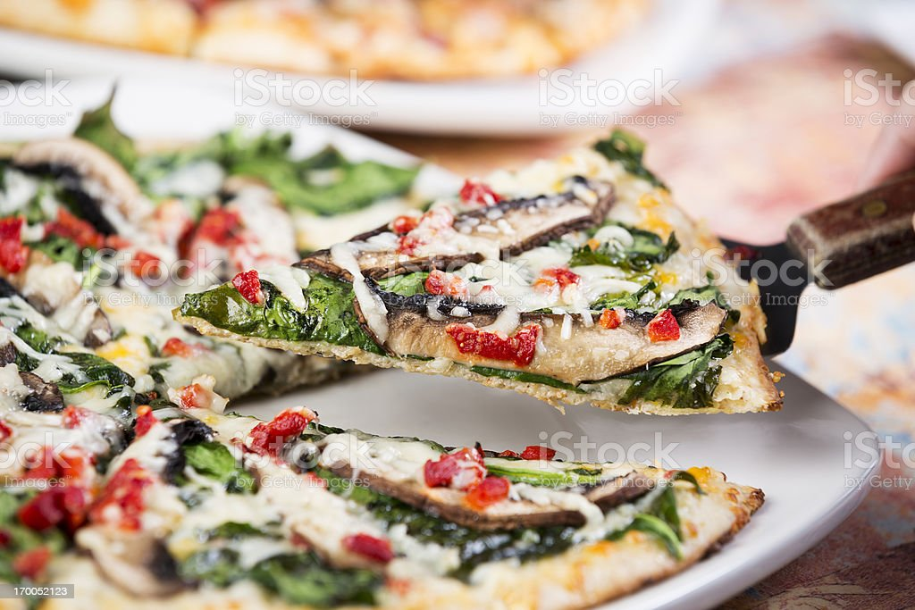 Colorful gourmet pizza stock photo