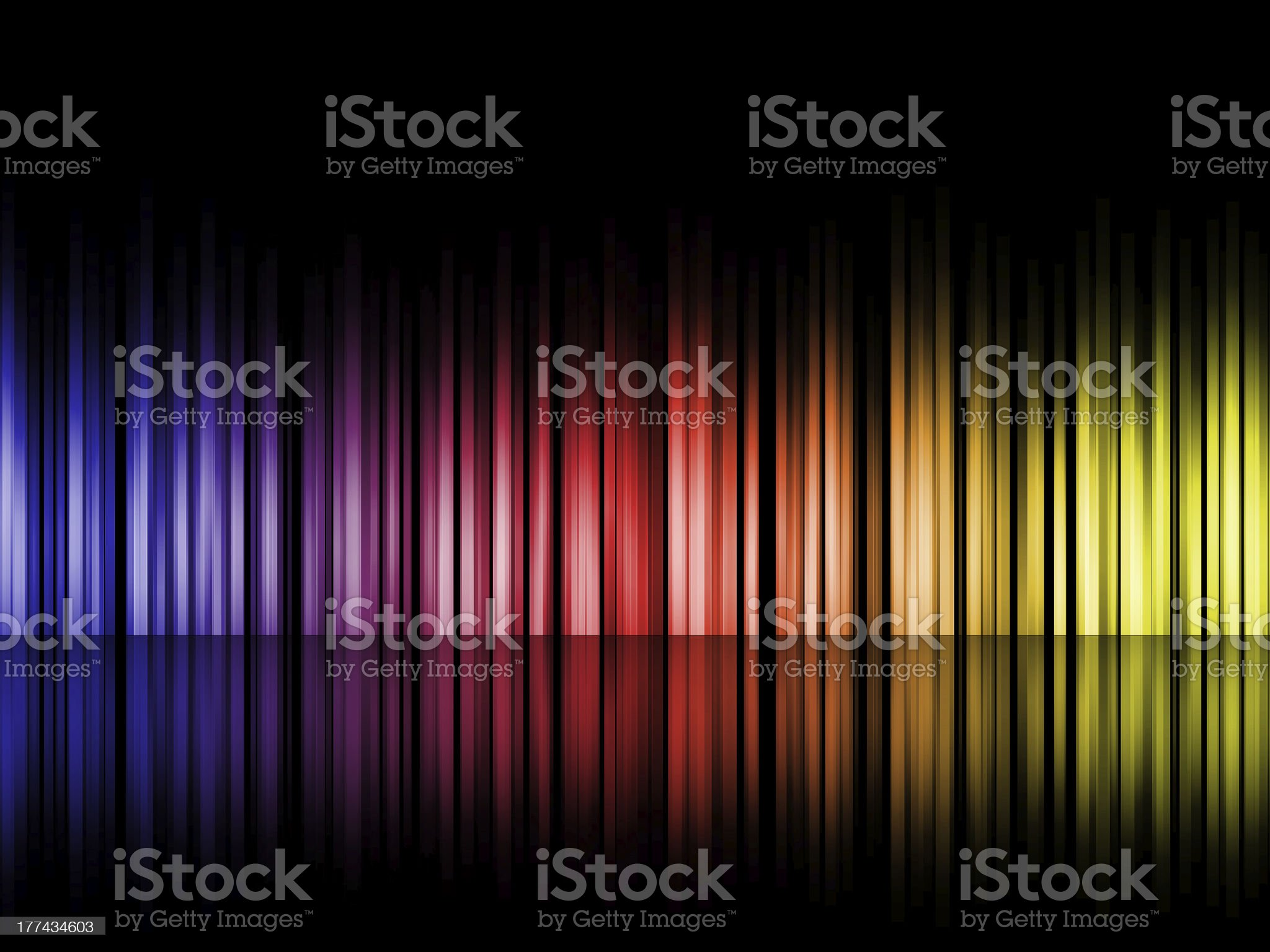 Colorful gradient bars on reflective floor royalty-free stock vector art