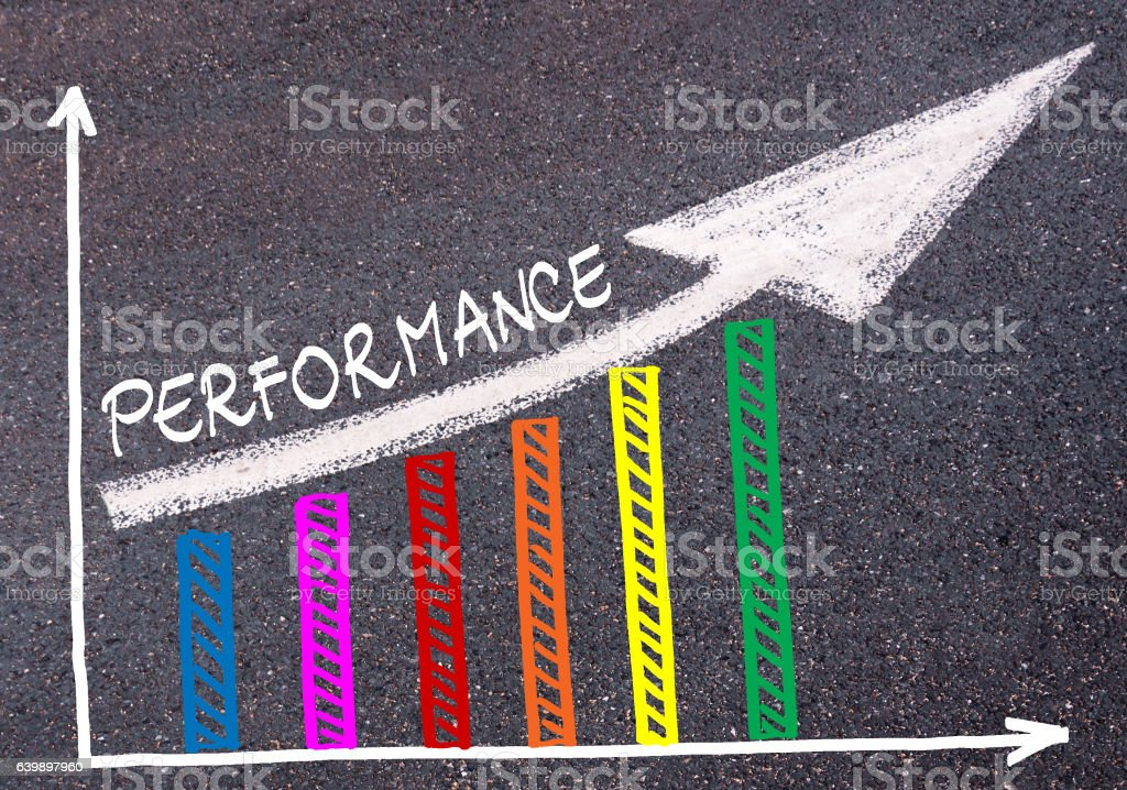 Colorful graph drawn over tarmac and directional arrow stock photo