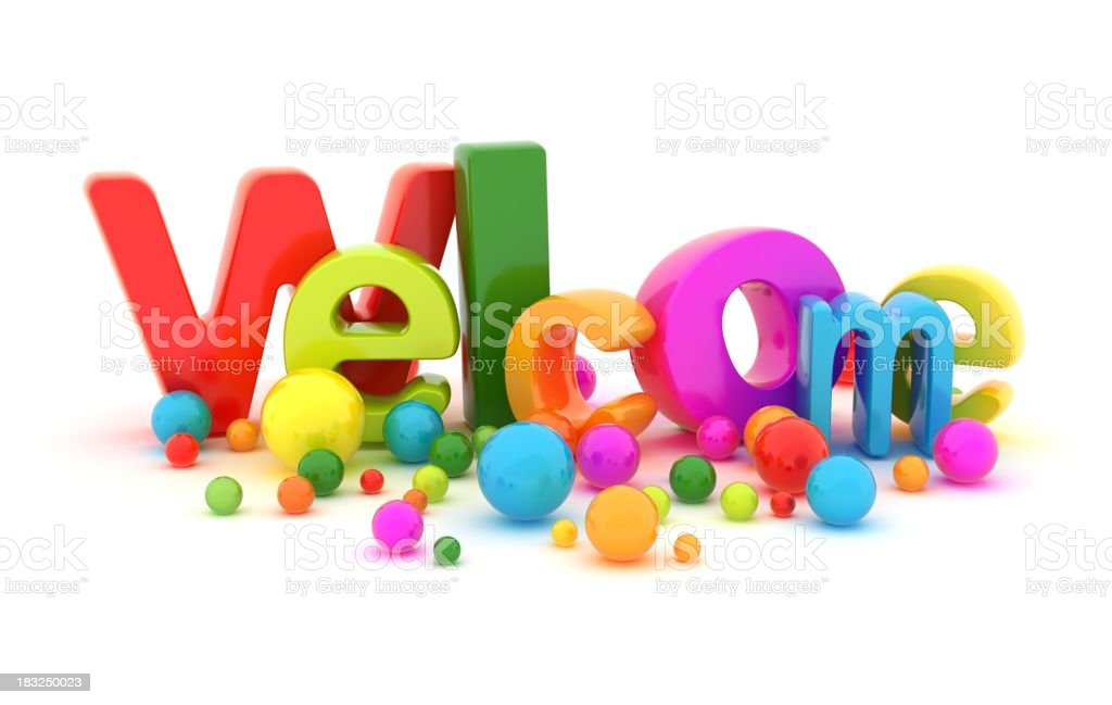 Colorful graphic of the word Welcome with spherical details royalty-free stock photo