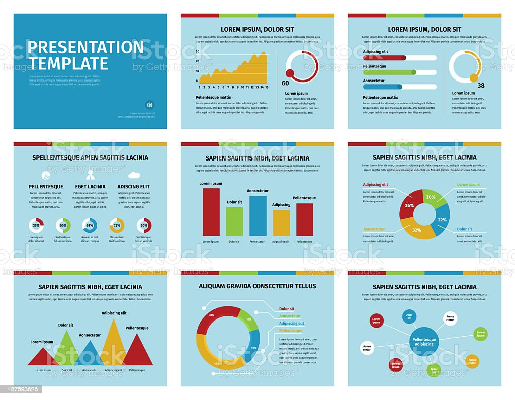 Colorful graphs and presentation graphics on blue stock photo