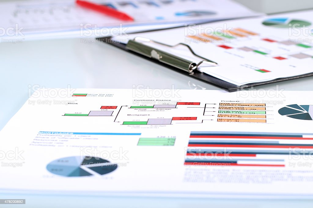 colorful graphs, charts, marketing research and business annual  report background stock photo