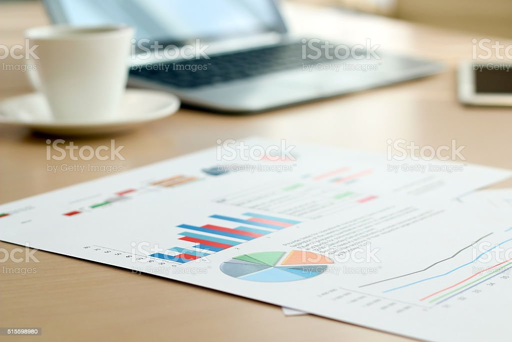 Colorful Graphs, Marketing Research And Business Annual report stock photo