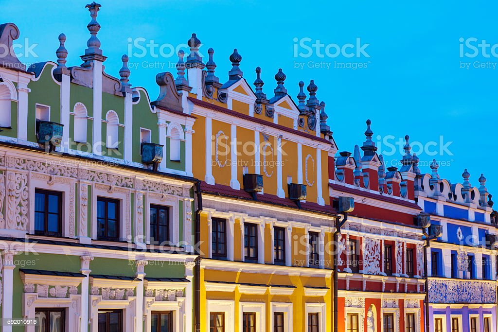 Colorful Great Market Square in Zamosc stock photo