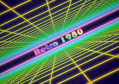 Colorful grid background with text 'Retro 1980'