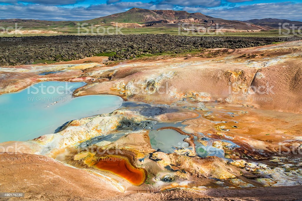 Colorful ground full of minerals on volcanic mountain, Iceland stock photo