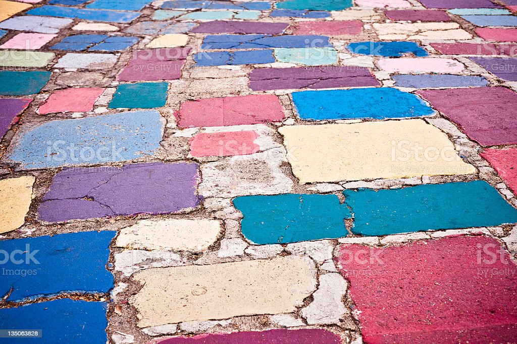 Colorful ground in the Balboa Park of San Diego royalty-free stock photo