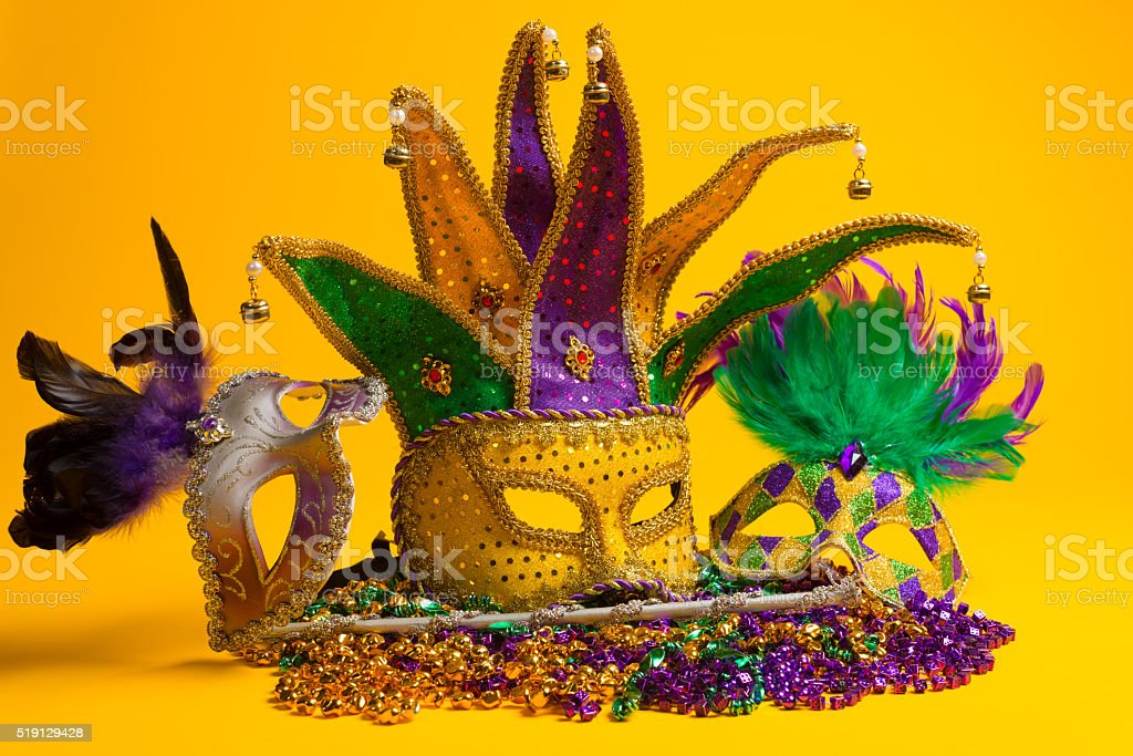 Colorful group of Mardi Gras or venetian mask stock photo