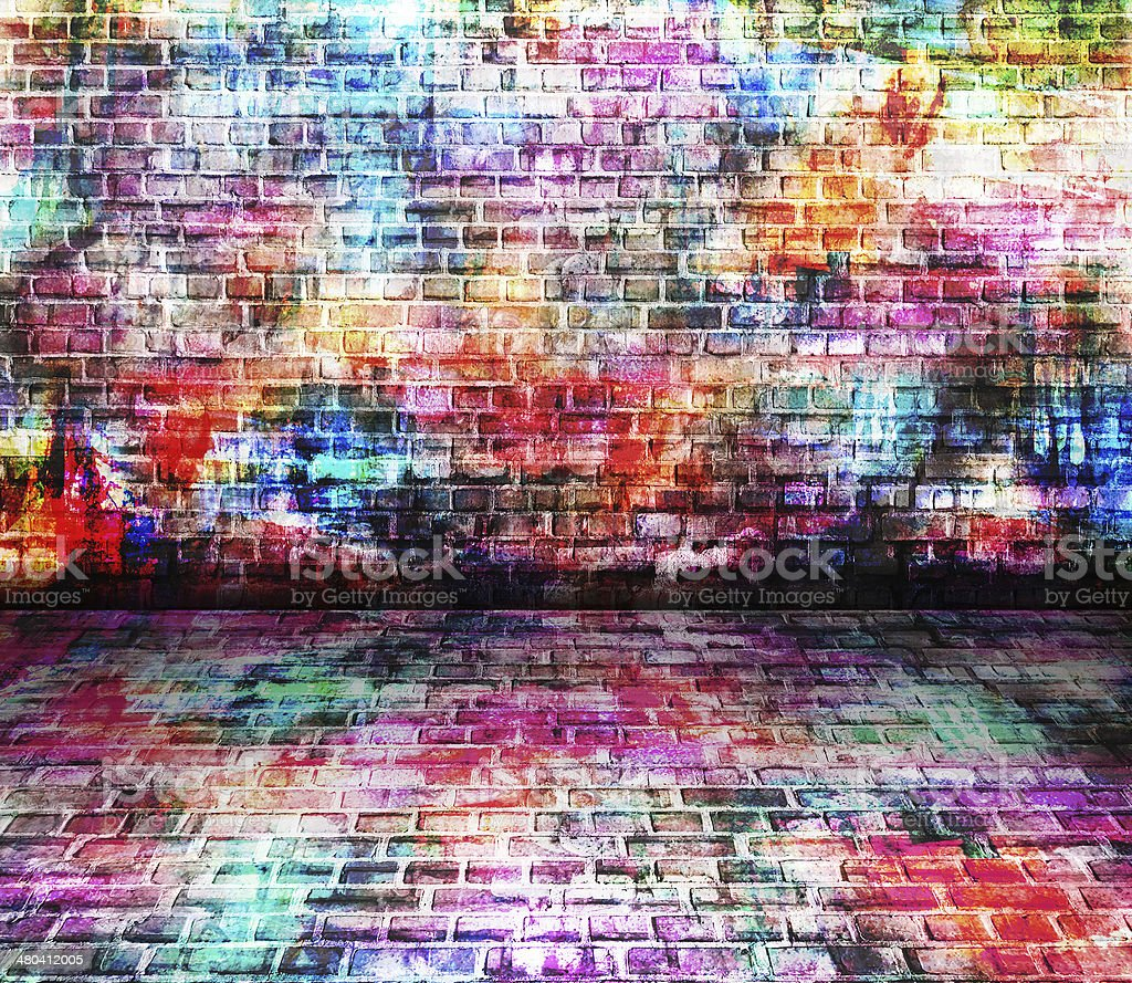 Colorful grunge art wall illustration stock photo