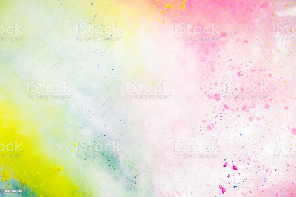 Colorful Gulal Holi Powder on white background stock photo