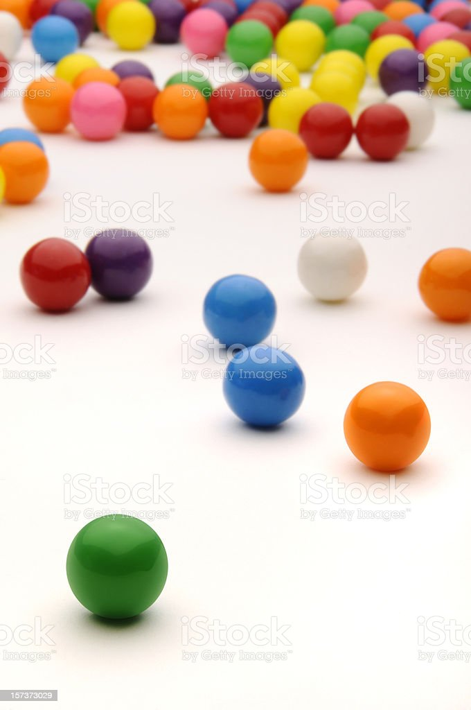 Colorful Gum Balls White Surface; Red, Blue, Yellow, Green, Orange stock photo