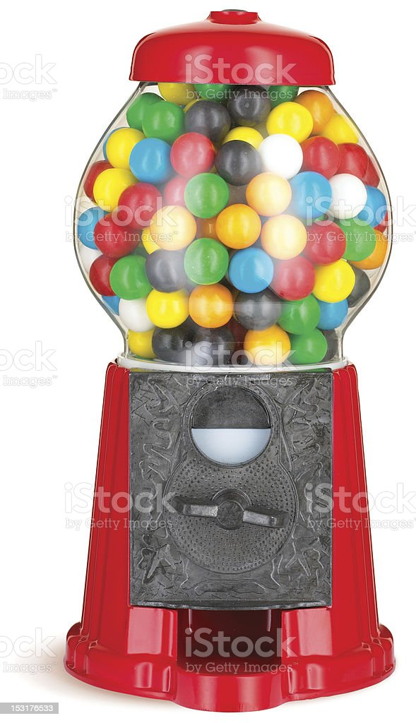 colorful gumball chewing gum dispenser machine with clipping path stock photo