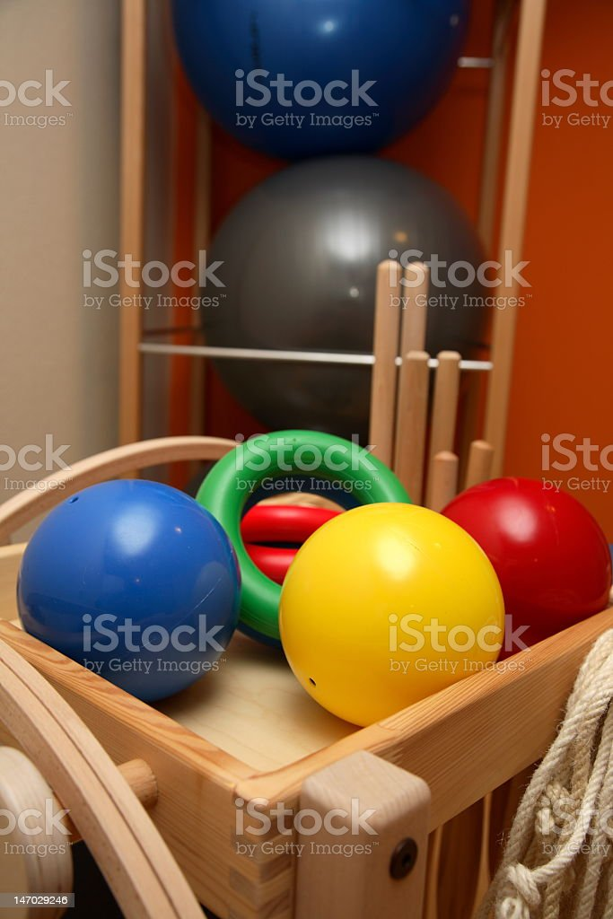 Colorful gymnastics appliances royalty-free stock photo