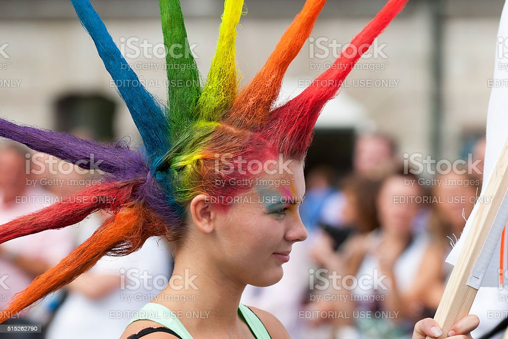 colorful hair pride parade stockholm sweden stock photo