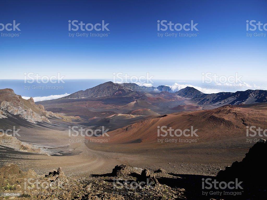 Colorful Haleakala National Park Volcanic Crater Landscape Maui stock photo