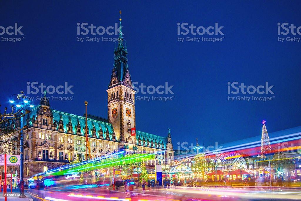 Colorful Hamburg Town Hall stock photo