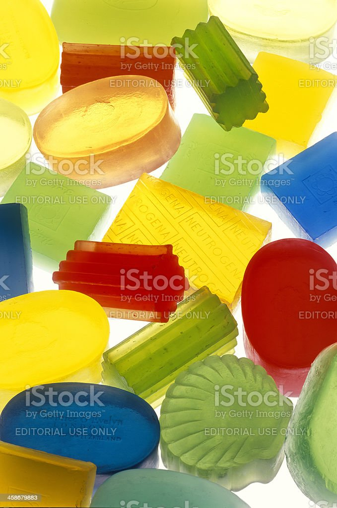 colorful hand made glycerine bars of soap stock photo