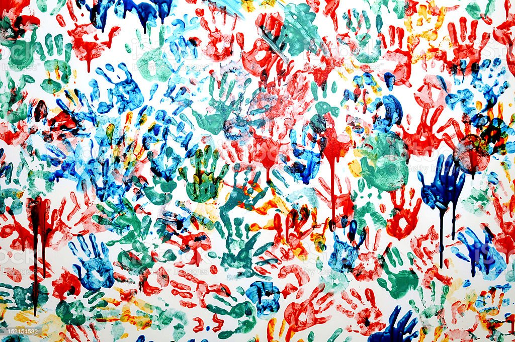 colorful hand prints royalty-free stock photo