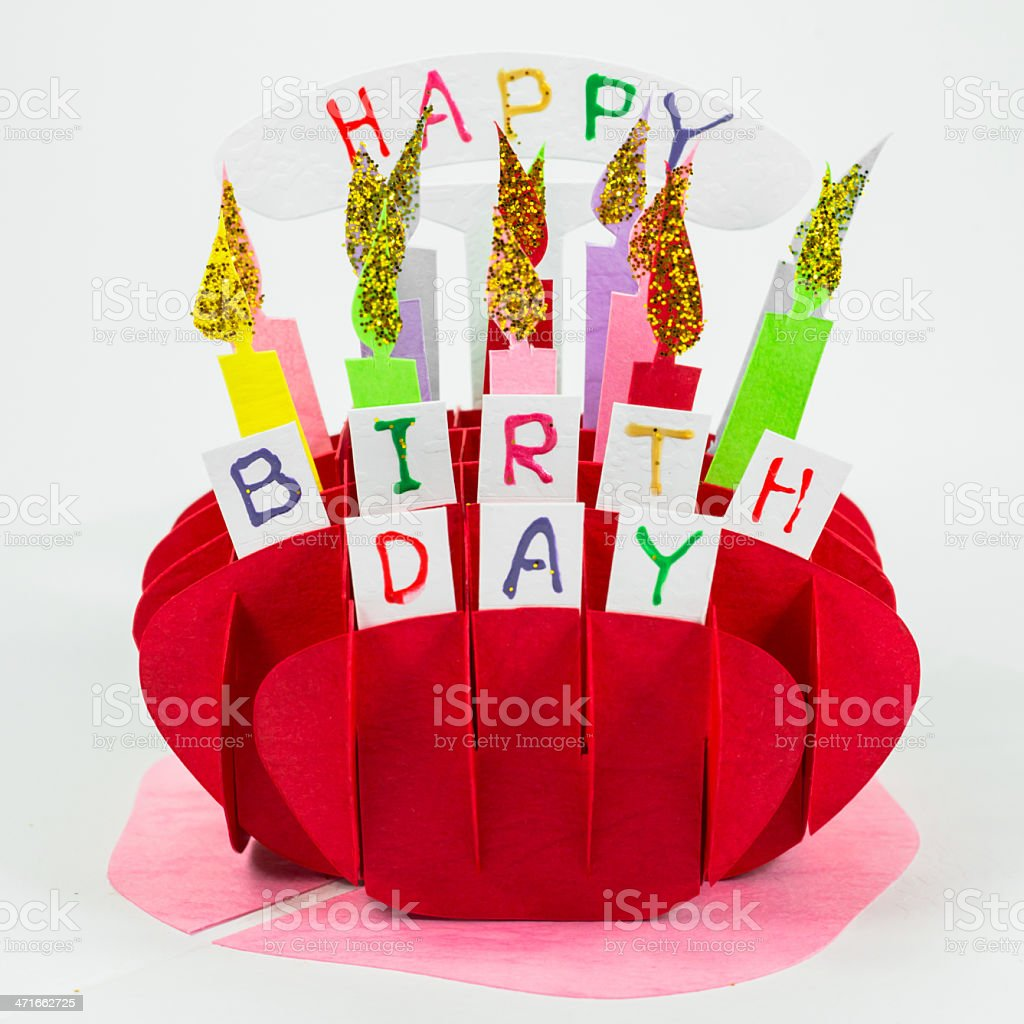 Colorful handicraft birthday cake royalty-free stock photo